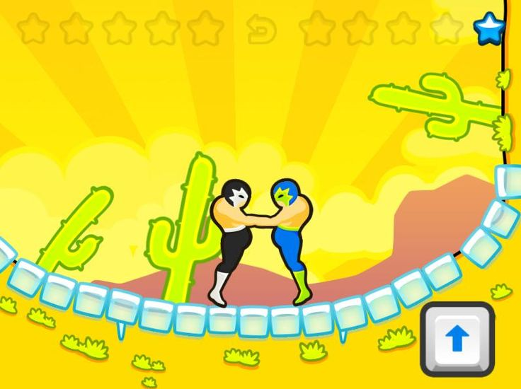 Wrestle Jump is a one key game. It might seem really simple, but you can pull some really nice moves with good timing.  The first wrestler's head that touches the floor or a wall loses! You can play with AI(computer) or 2 players, so if you have a friend bring them over for extra fun! May the best wrestler win!