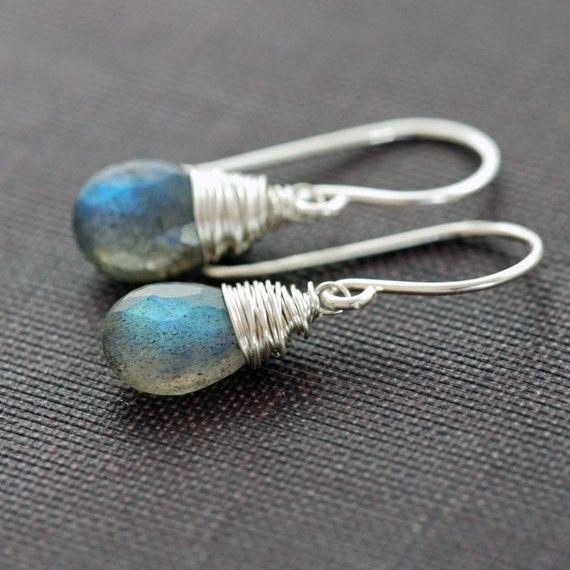 Labradoriet oorbellen verpakt in Sterling Zilver, Gemstone bengelen oorbellen handgemaakt, aubepine