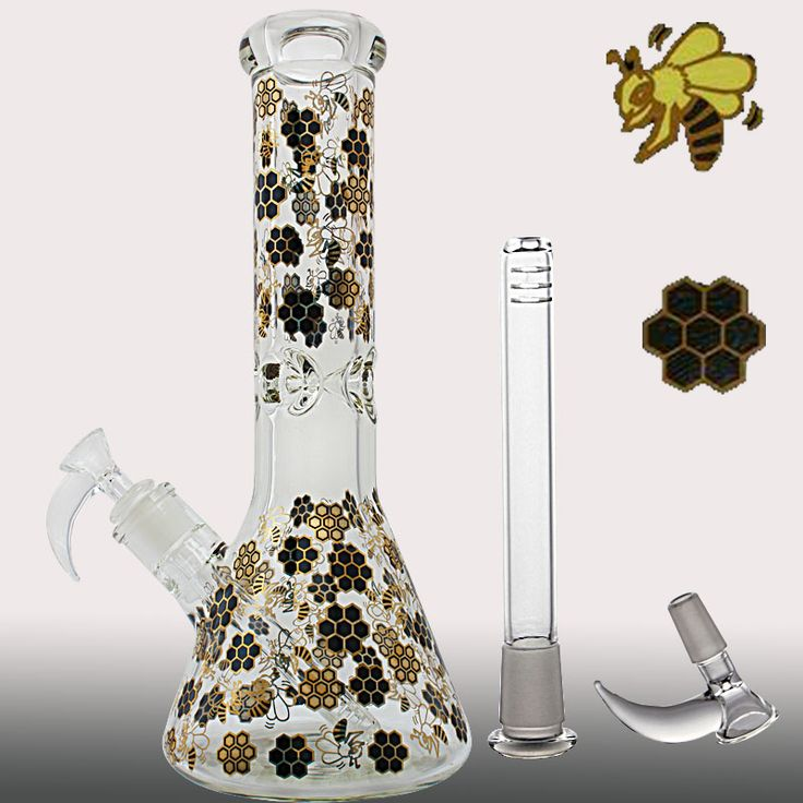 2017 Printing flowers bee glass water pipes 11.4'' glass bongs with 19mm joint oil rigs recycle glass water bongs free shipping