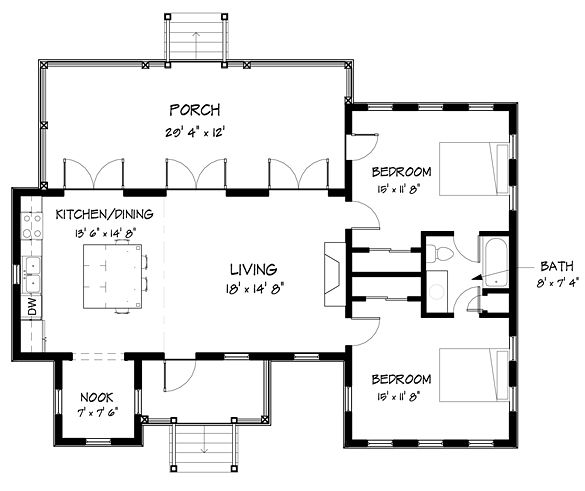 Coastal Home Plans   Good Harbor Cottage 900 Sq Ft   Vaulted And Looks  Coastal Would Add A Master Bedroom On The Whole Left Side.