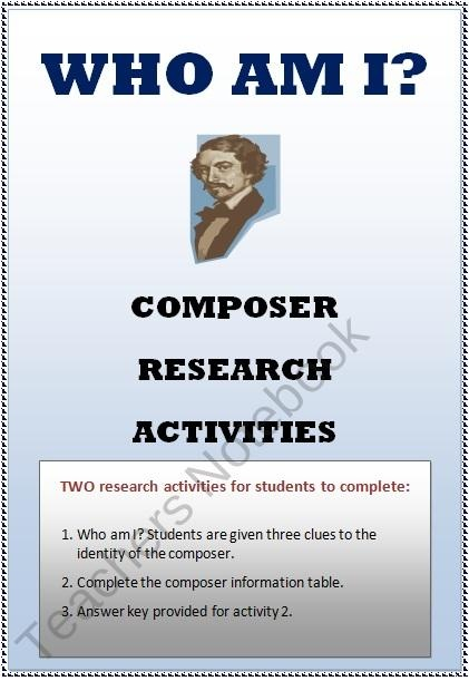 FAMOUS COMPOSERS Research Activity product from MusicTeacherResources on TeachersNotebook.com