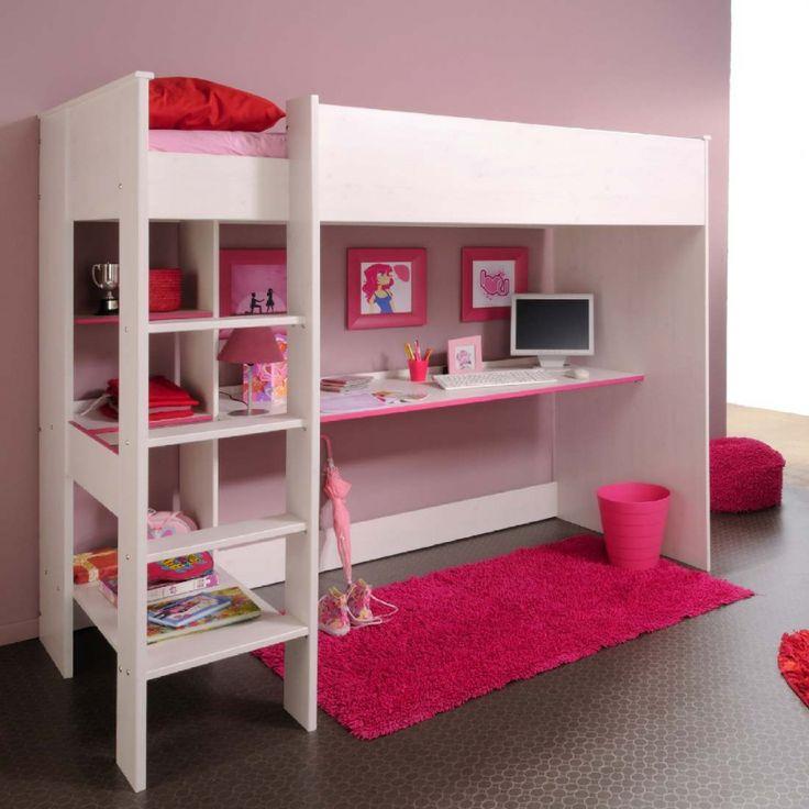 Hoogslaper Smoozy - wit gelakt frame - voor meisjes - wit met roze zijdes 299,00