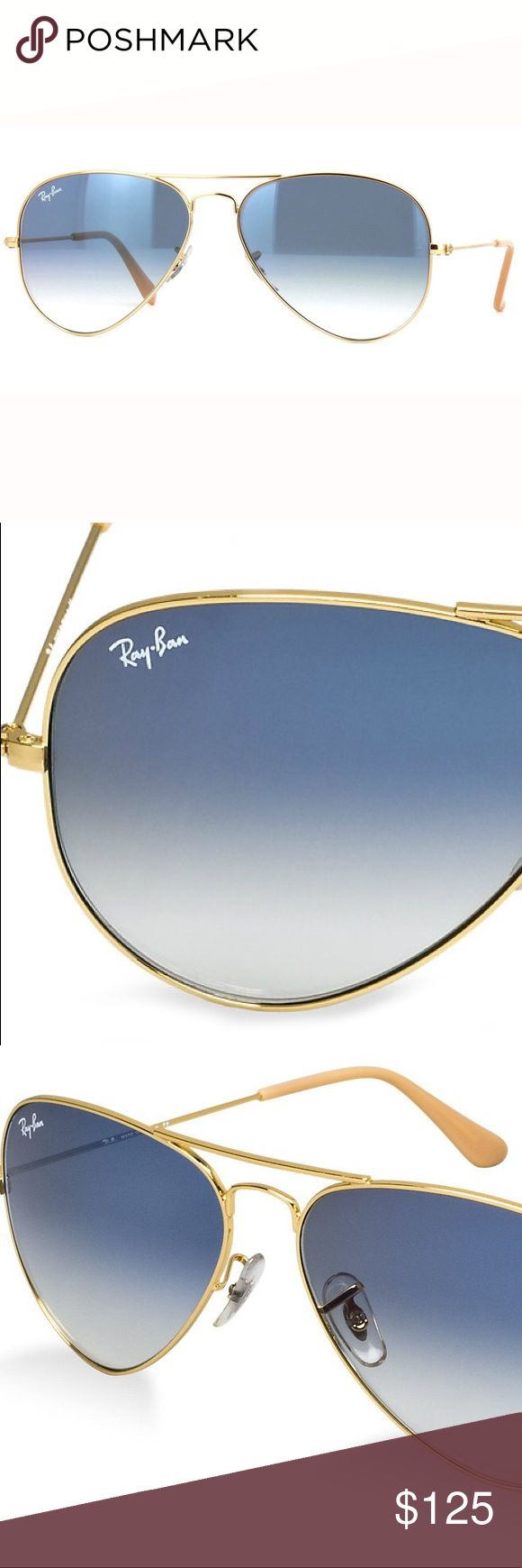 RayBan Gradient Blue Gold Frame RB3025 001/3F 62mm RayBan Gradient Blue Gold Frame Aviators RB3025 001/3F 62mm  •These are 100% Brand New and Authentic Ray-Ban Aviator sunglasses  •Your purchase will be shipped in original box and proper packaging to prevent damage  •Your purchase included everything that comes with the original box (Retail Box, Carrying Case, Manuals, etc.) Ray-Ban Accessories Sunglasses