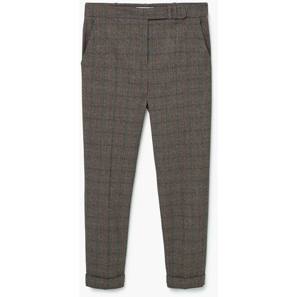 Check Suit Trousers (93 SAR) ❤ liked on Polyvore featuring pants, cuffed suit pants, slacks pants, cuffed pants, checked trousers and mango trousers