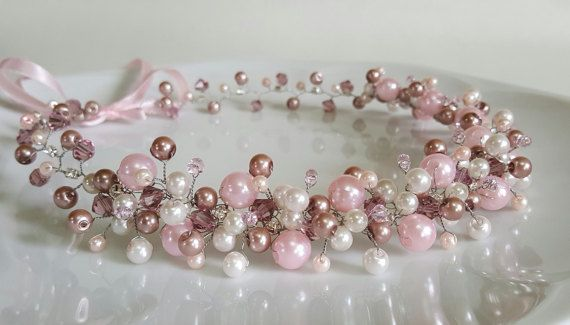 Pink Bridal Ivory Pearls CrownBridal TiaraIvory Glass by CyShell