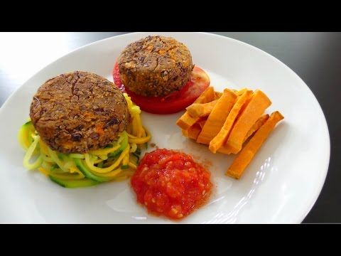 Burger steak frites au haricot rouge & patate douce [Recette facile] [Vegan] [Déjeuner / Dîner] - YouTube