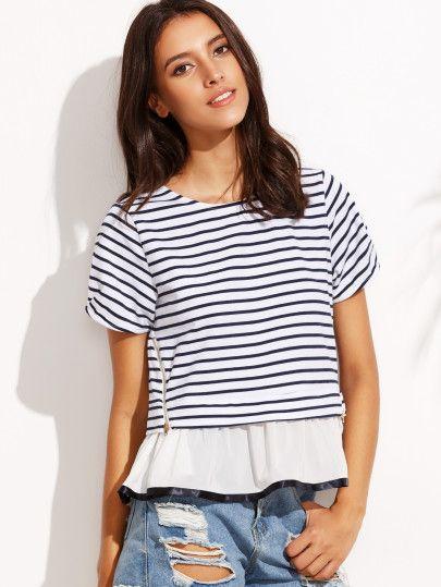 Navy Stripe Zipper Ruffle Hem Short Sleeve T-shirt