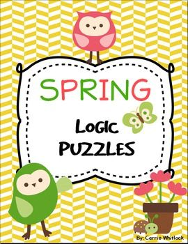 These logic puzzles are all themed around spring!  If you are wondering what a logic puzzle is, it is a puzzle where you use clues, a grid, and some deductive reasoning to figure out who matches with what, or what items go together.  It is a great way to exercise your students' brains!These would also be great early finisher work, early work, or even a holiday themed center!