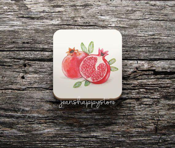 Pomegranates Illustration On COASTER  8.5 x 8.5 cm