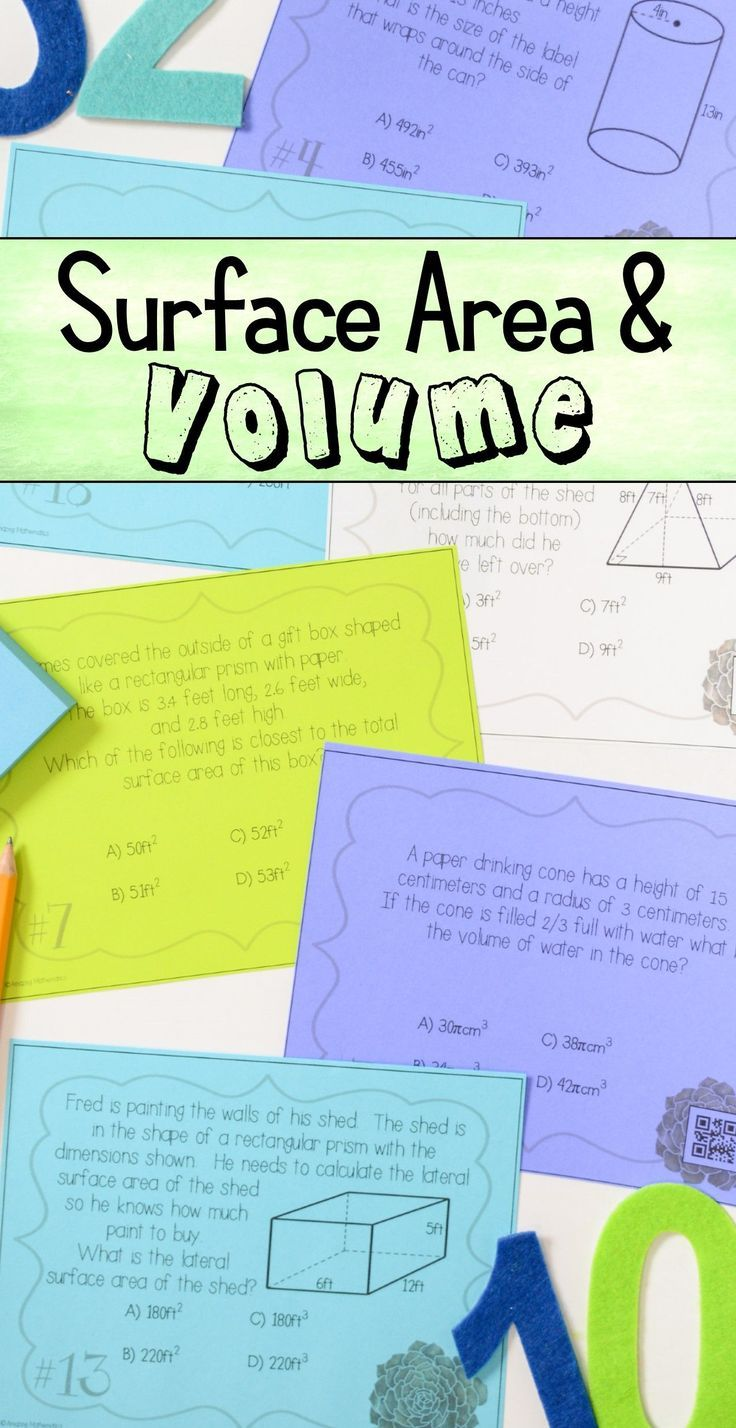 Surface Area Volume Task Cards In 2020 Task Cards Word Problem Worksheets 8th Grade Math