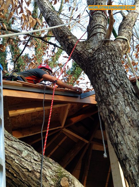 Adam Laufer of Asheville-based World Treehouses helps his pal Mike install a roof 26 feet up in this western NC tree house. You can't beat the view from up here! #AVL #rigging #treelove #nature #cabinporn #WNC