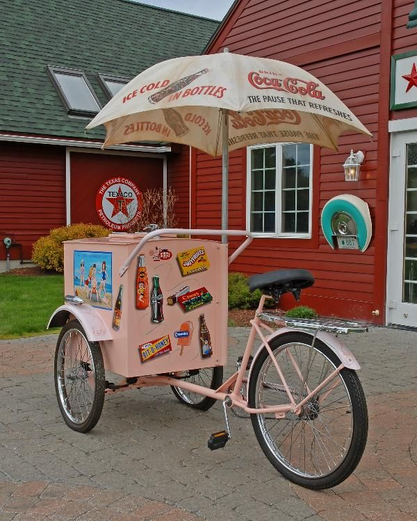 90: Rare ice cream vendor's bicycle cart restored with : Lot 90