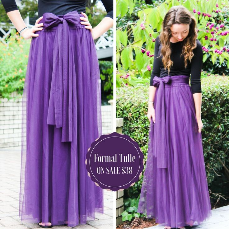 formal tulle maxi skirt with tulle belt in purple