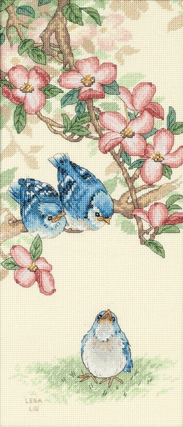 Cute blue bird and blossom cross stitch