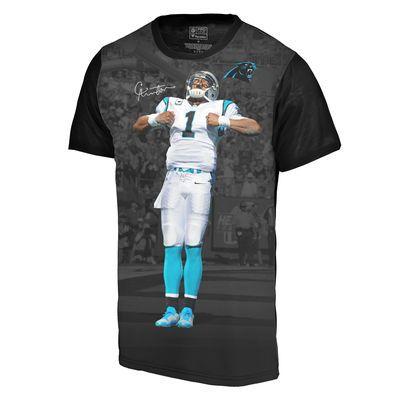 Youth Carolina Panthers Cam Newton Player Sublimation Name & Number Black T-Shirt