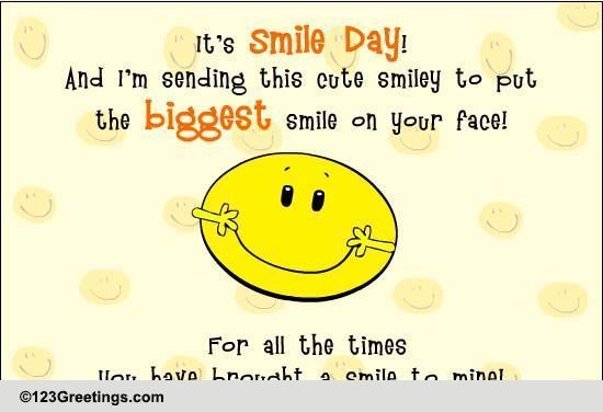 Biggest Smile! Free Smile Day eCards, Greeting Cards   123 Greetings
