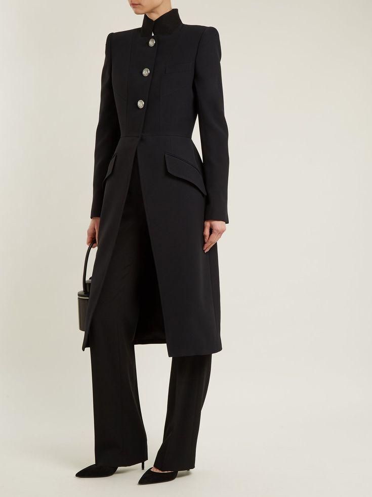 Stand-collar button-detail wool coat | Alexander McQueen | MATCHESFASHION.COM