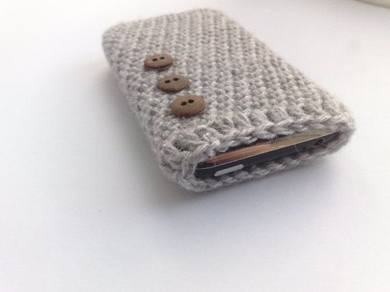 Gray crochet iPhone case with button by theknitpearlboutique, $10.00