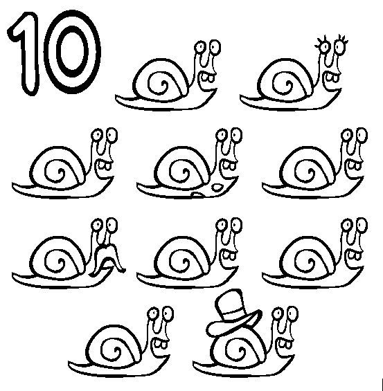 Ten Simple Numbers With Pictures Snails