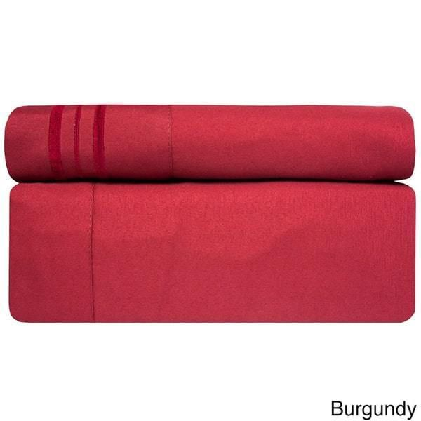 4 Piece Burgundy California King Bed Sheet Set Fitted Flat Pillowcases