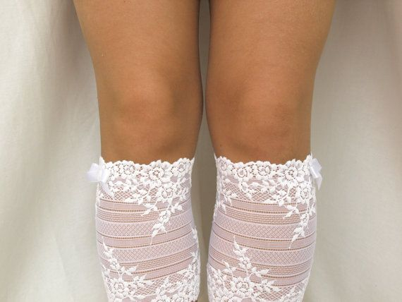Lace Boot Cuff Socks White flower lace with by VANAGScreative, $25.00