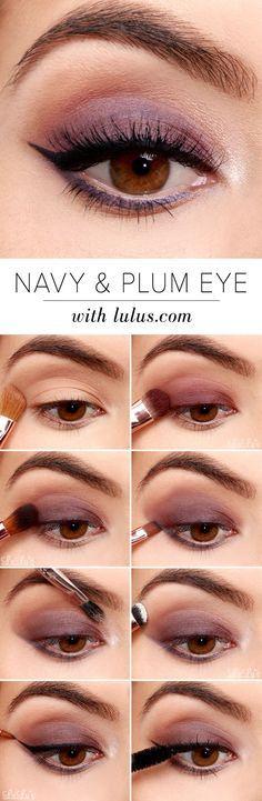 How-To: Navy and Plum Smokey Eyeshadow Tutorials  - Beauty Bets