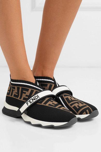 d6cf72a486aae Fendi | Rockoko logo-jacquard stretch-knit and mesh slip-on sneakers |  NET-A-PORTER.COM