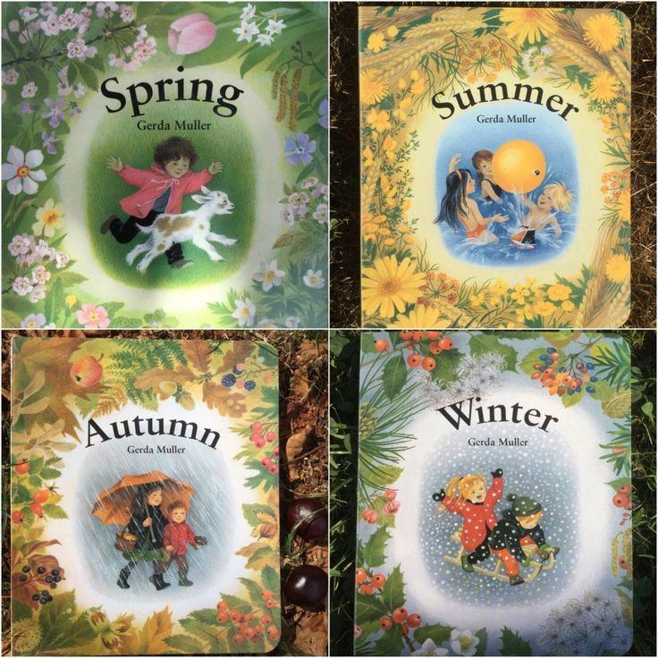 Le stagioni di Gerda Muller. Quattro libri cartonati senza parole illustrati margini ficcamene dall'autrice olandese. Ogni libro ritrae l'essenza di una stagione.