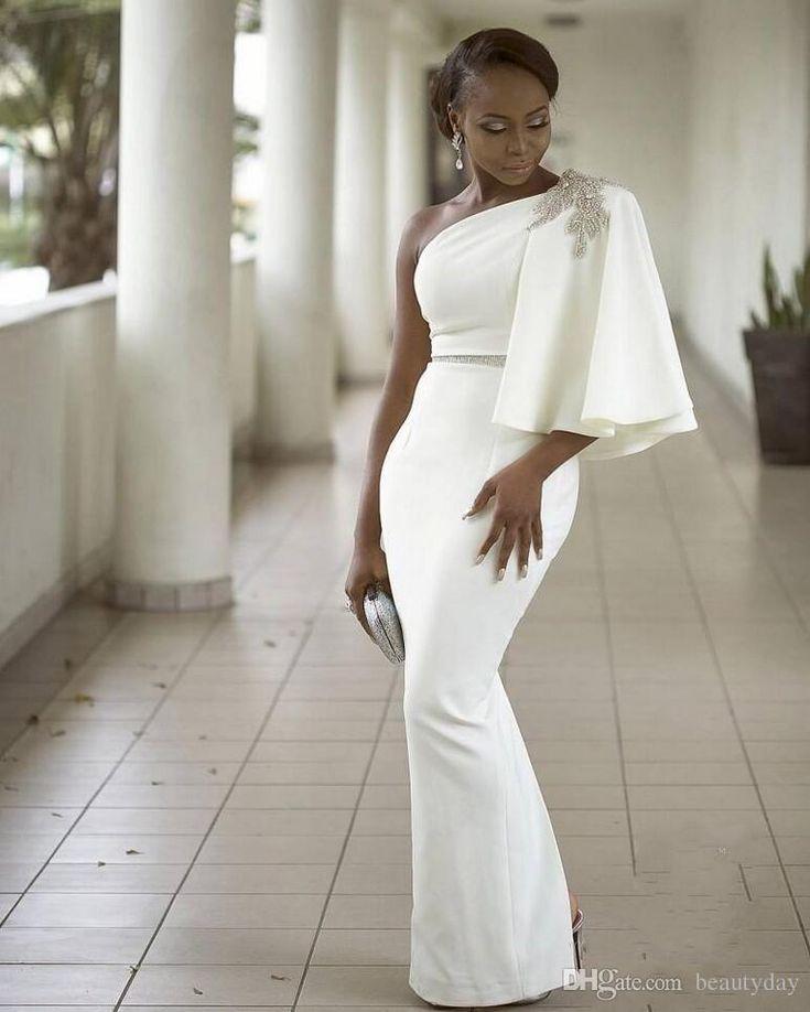 aa923d2c79290 Bridesmaid Dresses Aso Ebi Black Girls Prom Dresses One Shoulder ...