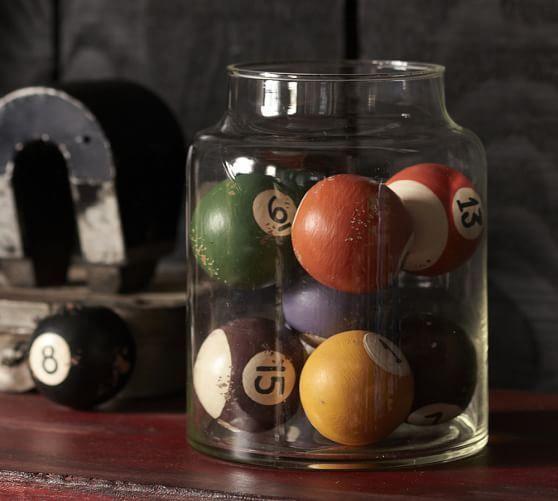 29 Man cave ideas on a budget like this Vintage Pool ball display