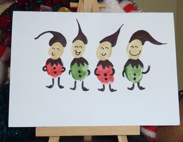 How cute! Thumb print Elves....GOT to make some of these for Christmas cards with the kids!