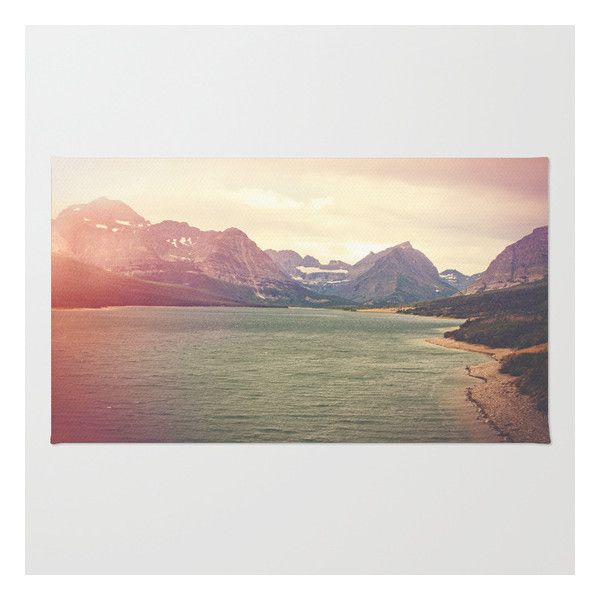 Retro Mountain Lake Rug ($28) ❤ liked on Polyvore featuring home, rugs, zig zag rugs, chevron rugs, polyester rugs, machine washable area rugs and non skid area rugs