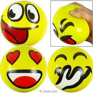 LARGE EMOJI STRESS RELAX BALLS. Squeeze it to unwind. Assorted styles. Sorry, no style choice available.  Size 4 Inches
