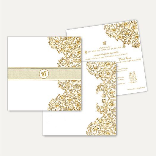 This invitation card with a unique captivating style and design theme is made from high quality card paper. Beautiful design done in gold print an astonishing effect. Ek-onkar image can be customized as required.