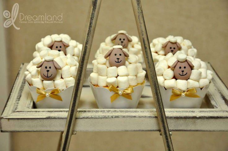 Marshmallow cupcakes at a lamb baptism party! See more party planning ideas at CatchMyParty.com!
