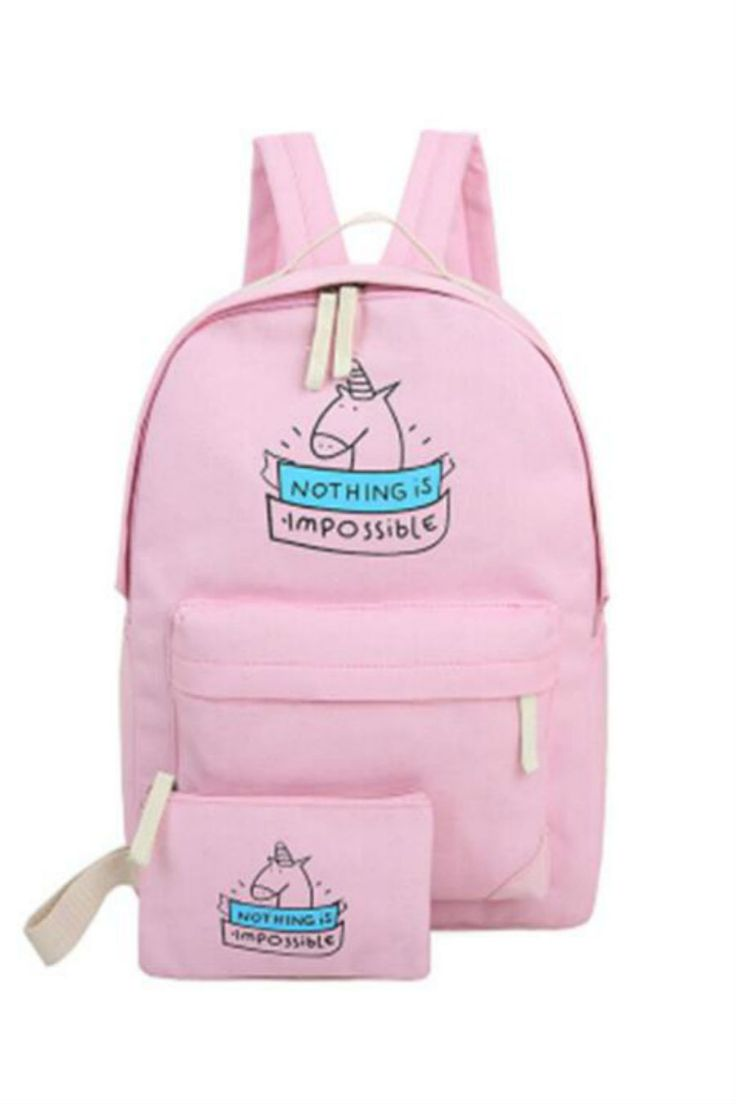 Pink Unicorn Backpack With Wallet