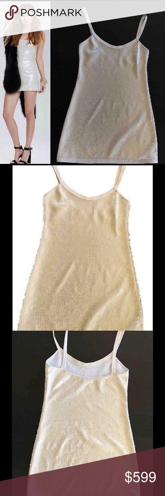 chanel spaghetti strap sequin dress off white sz38 iridescent sequin chanel micro mini spaghetti strap dress
