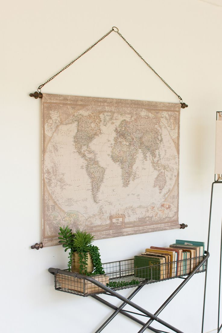 Rustic World Map Banner Wall Art With Chain