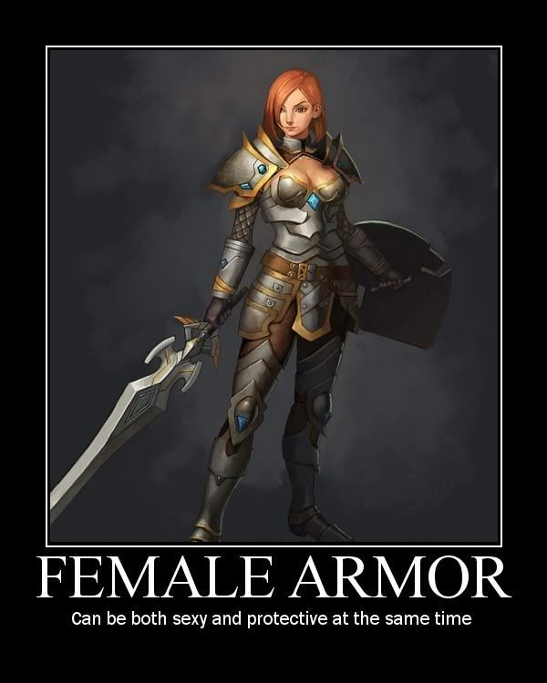 Answer Fantasy female armor meme congratulate, what