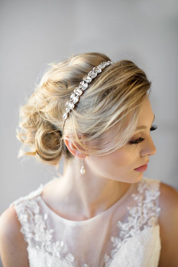Crystal Ribbon Headband Wedding Headband by PowderBlueBijoux
