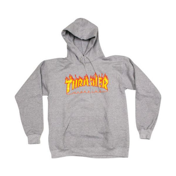 Thrasher Skateboard Mag Flame Logo Grey Pullover Hooded Sweatshirt... ❤ liked on Polyvore featuring tops, hoodies and outerwear