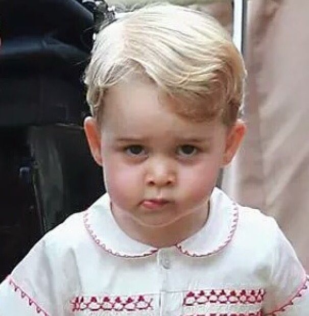 """Prince George ( I noticed Charlotte had the same lip """"expression"""" in the pram on her Christening day)"""