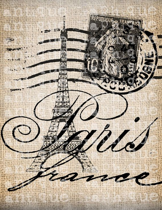 Francia París, antiguo lujo Torre Eiffel vieja postal Digital descargar para toallas de té, transferencia, almohadas, etc. arpillera No 3803