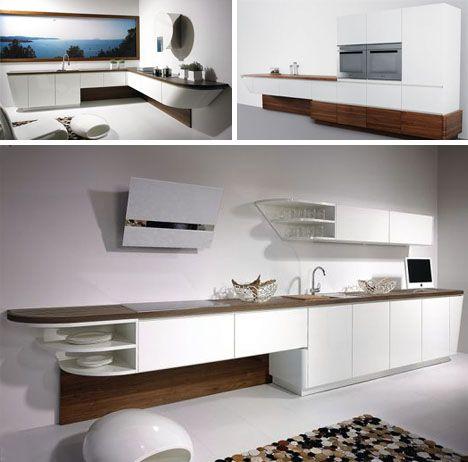 Sleek & Unique: Crafty Sailboat-Shaped Kitchen