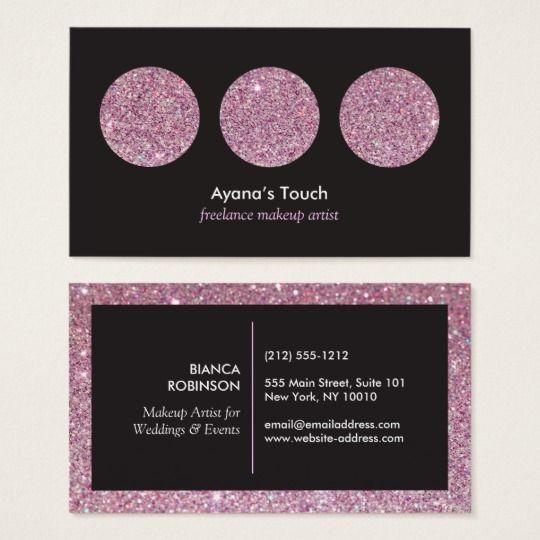 Pink Glitter Palette For Freelance Makeup Artist Business Card