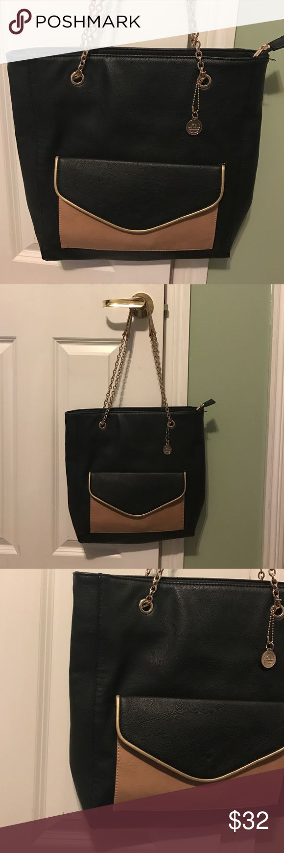 Big Buddha purse. Brown/black/gold colored handbag. Gently used.  Zipper section inside. Big Buddha Bags Shoulder Bags