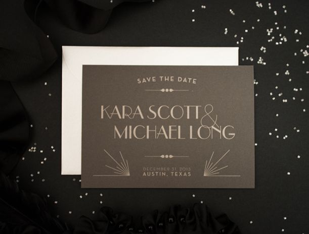 New Year's Eve Wedding in Austin, TX :: Custom designed metallic letterpressed art deco wedding save the dates