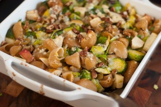 Baked pasta with Brussels Sprouts, Apples and Blue Cheese: Baked Chiocciole, Blue Cheese, Recipe, Brussels Sprouts, Fuji Apples, Food, Brussel Sprouts