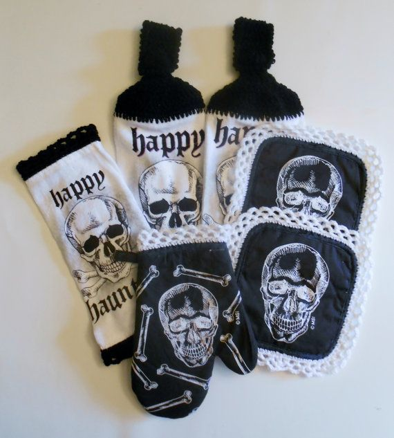 Skull Kitchen Set, Crochet Hanging Towels, Pot Holders, Oven Mitt, Black and White, Halloween Decor with Crochet trim, Goth