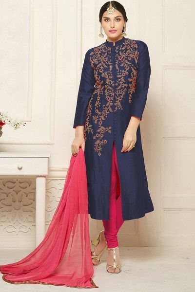 Buy designer navy blue indo western & salwar suit online shopping with lowest prices in india. #thankaronline #fashion #dress #salwarsuit #indowestern #designersalwarsuit #designerdress #festival